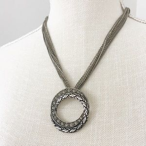 Chico's Silver Ornate Textured Disc Necklace